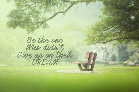Motivational and inspiration quotes with phrase be the one who didnt give up on their dream with nature background