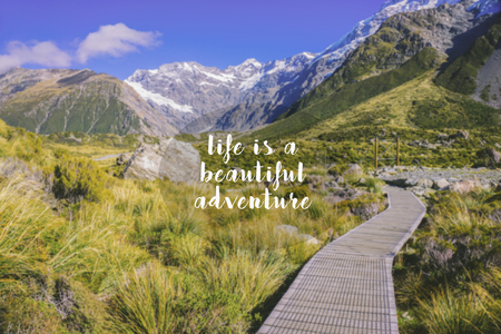 Travel inspirational quote - Life is a beautiful adventure. Blurry background.