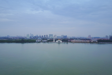 Aerial Majestic view of Malacca Straits Mosque