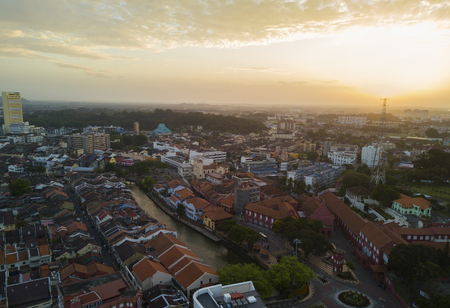 Aerial view of Malacca city during sunrise