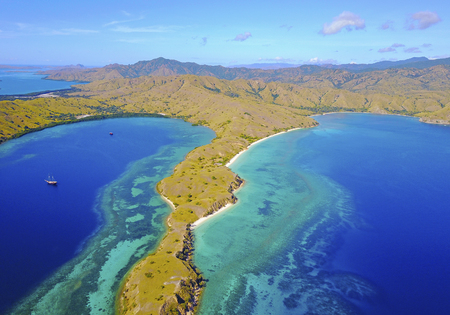 Beautiful view of Flores Island, Indonesia with dramatic blue sky Stock Photo