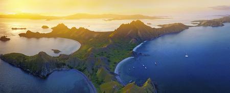 Aerial view of superlarge panorama of beautiful sunset at Padar Island, Flores Indonesia Stock Photo