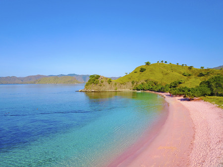 Aerial view of beautiful pink beach at Flores Island.