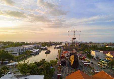 Melaka, Malaysia - March 22, 2016: Arial view Exterior of Malacca Maritime Museum or Muzium Samudra. Replica of the Flora de La Mar a Portuguese ship that sank off the coast of Melaka at night. Editöryel