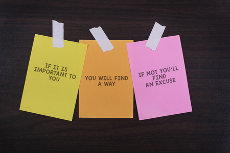 Word quotes of IF IT IS IMPORTANT TO YOU,YOU WILL FIND A WAY,IF NOT YOULL FIND AN EXCUSE on colorful sticky papers against wooden textured