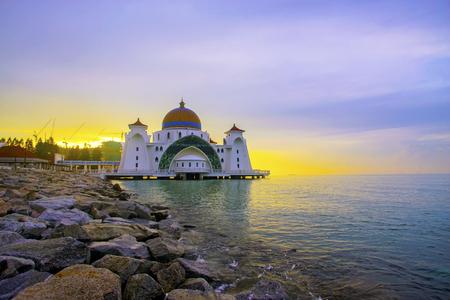 Majestic Malacca Straits Mosque during sunrise Stok Fotoğraf