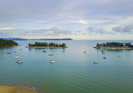 Aerial view of a Lighthouse, boat and yacht docked in marina, Langkawi Stok Fotoğraf