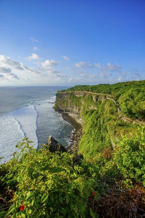 The hindu temple Pura Luhur Uluwatu situated over the cliffs of South Kuta, Bali, Indonesia
