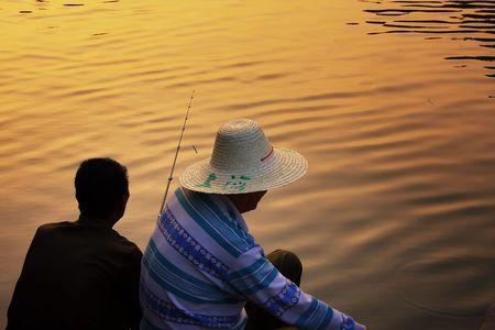 Fishing buddies in Guilin, China photo