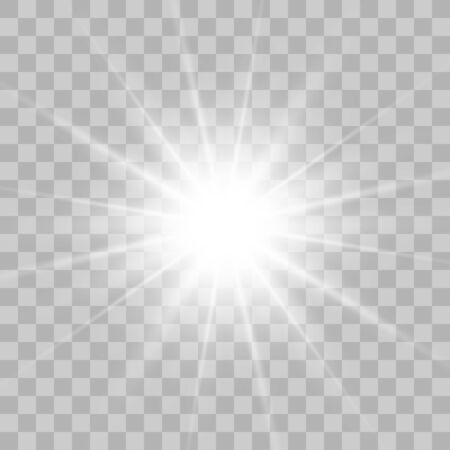 Explosion lumineuse éclatante avec transparent. Illustration vectorielle pour la décoration d'effet cool avec des étincelles de rayons. Étoile brillante. Paillettes dégradées de brillance transparente, éclat lumineux. Texture éblouissante