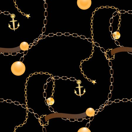 Abstract seamless pattern with golden chains, tassels,anchor. Fashion print for textile, scarf, lingerie, silk shawls and wrapping paper. Vector illustration on black background