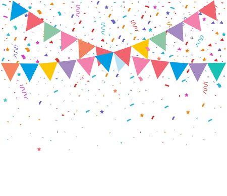 Kolorowy jasny konfetti na przezroczystym tle. Świąteczna ilustracja wektorowa