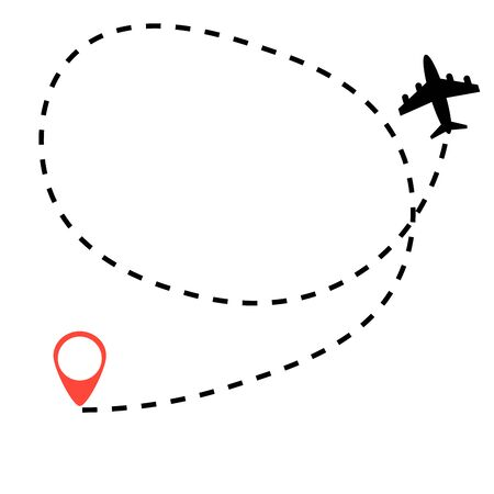 Airplane travel concept ,route dash line on white background.