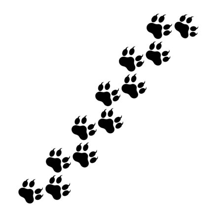 Paw pattern cat and dog animal pet vector paw footprint icon.