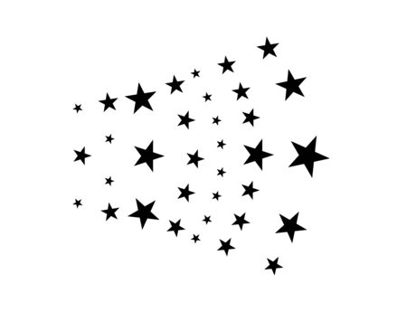 Stars on a white background. Black star shooting with an elegant star.Meteoroid, comet, asteroid, stars Vecteurs