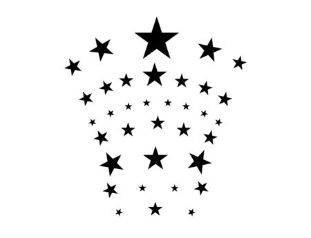 Estrellas sobre un fondo blanco. Estrella negra disparando con una elegante estrella Meteoroide, cometa, asteroide, estrellas