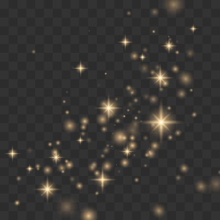 Glow light effect. Christmas flash, dust Vector illustration