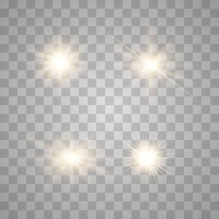 Set of glowing lights effects isolated on transparent background. Glowing lights effect, flare, explosion and stars. Bright Star. Archivio Fotografico - 137129973