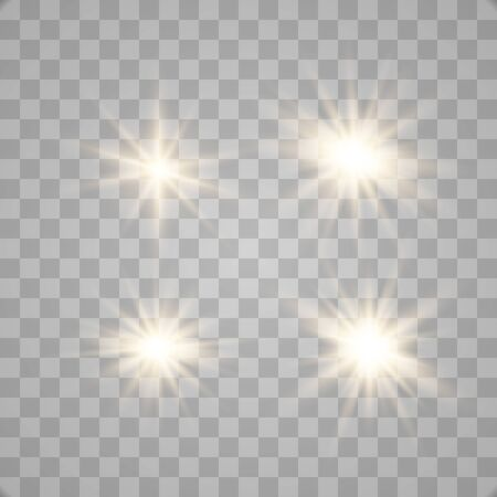 Set of glowing lights effects isolated on transparent background. Glowing lights effect, flare, explosion and stars. Bright Star. Archivio Fotografico - 137129977