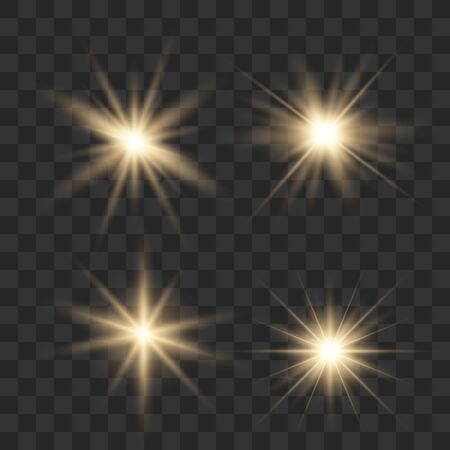 Set of glowing lights effects isolated on transparent background. Glowing lights effect, flare, explosion and stars. Bright Star. Archivio Fotografico - 137129980