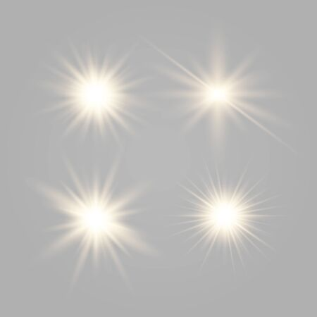 Set of glowing lights effects isolated on transparent background. Glowing lights effect, flare, explosion and stars. Bright Star. Archivio Fotografico - 137129981