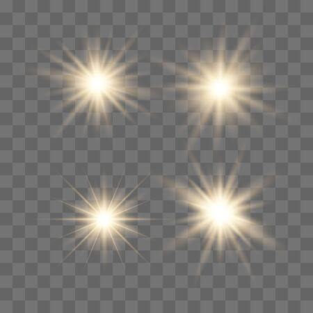 Set of glowing lights effects isolated on transparent background. Glowing lights effect, flare, explosion and stars. Bright Star. Archivio Fotografico - 137129982
