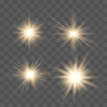Set of glowing lights effects isolated on transparent background. Glowing lights effect, flare, explosion and stars. Bright Star. Archivio Fotografico - 137129984