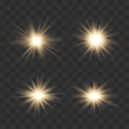 Set of glowing lights effects isolated on transparent background. Glowing lights effect, flare, explosion and stars. Bright Star. Archivio Fotografico - 137129383