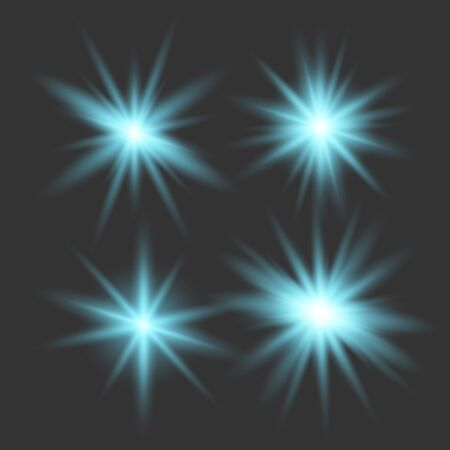 Set of glowing lights effects isolated on transparent background. Glowing lights effect, flare, explosion and stars. Bright Star. Archivio Fotografico - 137129384