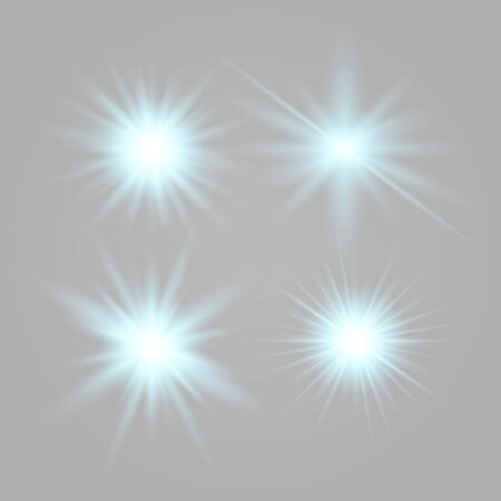 Set of glowing lights effects isolated on transparent background. Glowing lights effect, flare, explosion and stars. Bright Star. Archivio Fotografico - 137129373