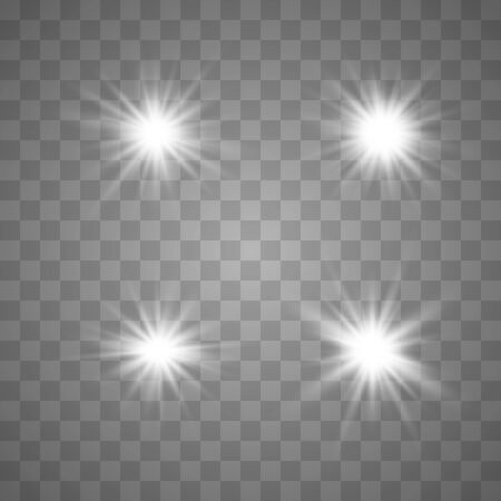Set of glowing lights effects isolated on transparent background. Glowing lights effect, flare, explosion and stars. Bright Star. Archivio Fotografico - 137129374