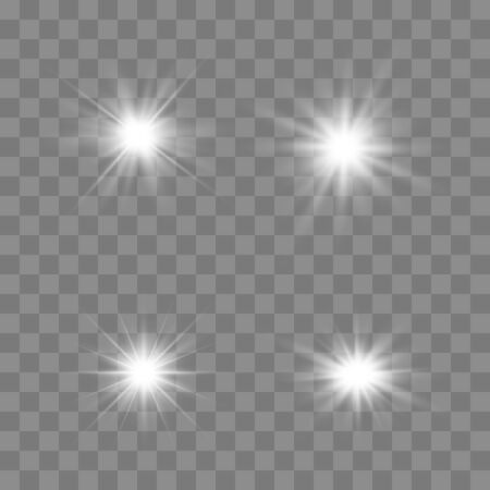 Set of glowing lights effects isolated on transparent background. Glowing lights effect, flare, explosion and stars. Bright Star. Archivio Fotografico - 137129385
