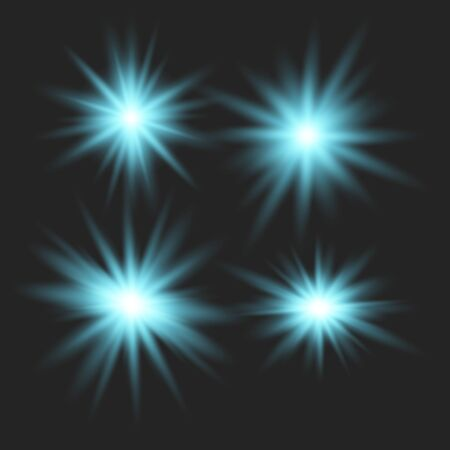 Set of glowing lights effects isolated on transparent background. Glowing lights effect, flare, explosion and stars. Bright Star. Archivio Fotografico - 137129386