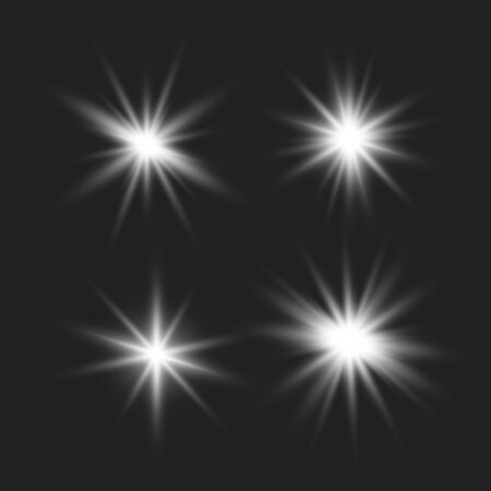 Set of glowing lights effects isolated on transparent background. Glowing lights effect, flare, explosion and stars. Bright Star. Archivio Fotografico - 137129387