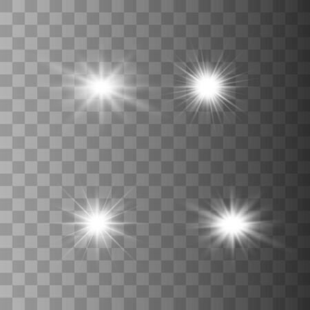 Set of glowing lights effects isolated on transparent background. Glowing lights effect, flare, explosion and stars. Bright Star. Archivio Fotografico - 137129390