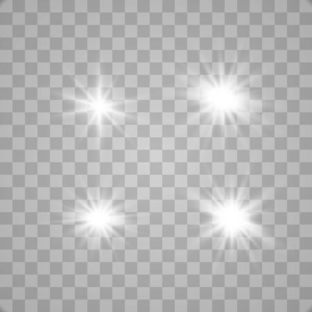 Set of glowing lights effects isolated on transparent background. Glowing lights effect, flare, explosion and stars. Bright Star. Vector Illustratie