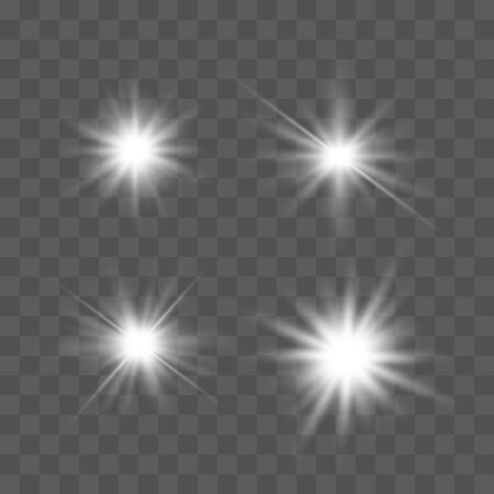 Set of glowing lights effects isolated on transparent background. Glowing lights effect, flare, explosion and stars. Bright Star. Archivio Fotografico - 137129396