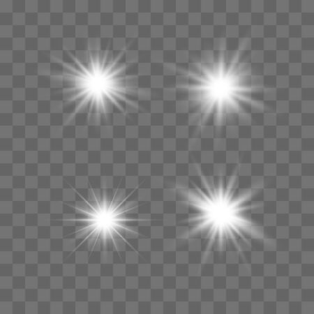 Set of glowing lights effects isolated on transparent background. Glowing lights effect, flare, explosion and stars. Bright Star. Archivio Fotografico - 137129399