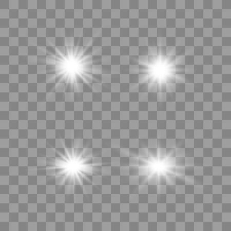 Set of glowing lights effects isolated on transparent background. Glowing lights effect, flare, explosion and stars. Bright Star. Archivio Fotografico - 137129401