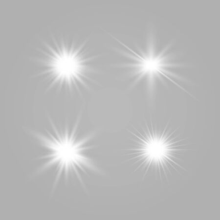 Set of glowing lights effects isolated on transparent background. Glowing lights effect, flare, explosion and stars. Bright Star. Archivio Fotografico - 137129403