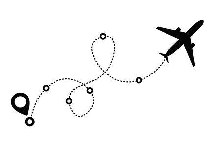 Icône vectorielle de chemin de ligne d'avion de l'itinéraire de vol d'avion avec point de départ et trace de ligne de tiret. Illustration vectorielle