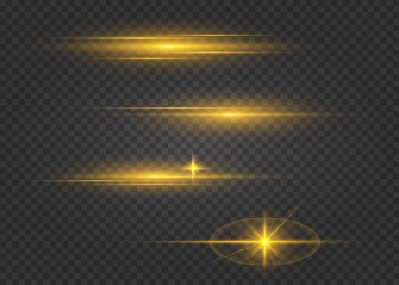 Set of flashes, lights and sparks. Golden lights effects isolated on a transparent background. Bright gold flashes and glares.  Glowing lines. Laser beams, horizontal light rays. Beautiful light flares.