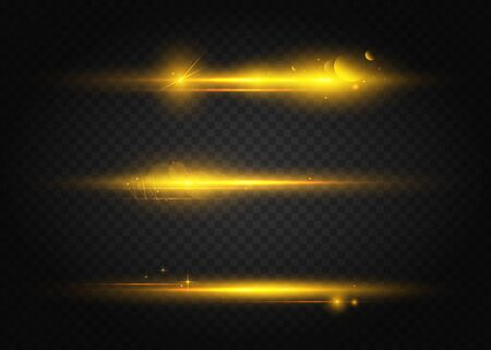 Set of flashes, lights and sparks. Golden lights effects isolated on a transparent background. Bright gold flashes and glares. Laser beams, horizontal light rays. Beautiful light flares. Vektorgrafik