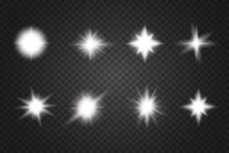 Set of Glowing Light Stars with Sparkles. Abstract white lights isolated on a transparent background. Bright white flashes and glares. Stok Fotoğraf - 137839766