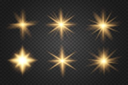 Glowing lights and stars. Abstract golden lights isolated on a transparent background. Bright gold flashes and glares.