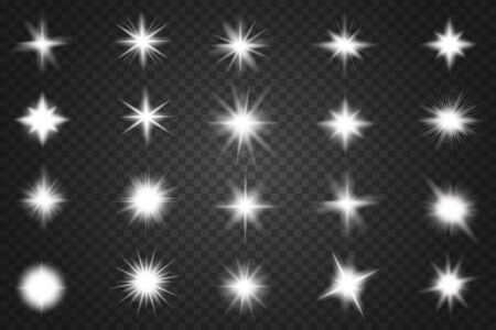 Set of Glowing Light Stars with Sparkles. Lens flares, rays, stars and sparkles with bokeh collection Stok Fotoğraf - 137839790