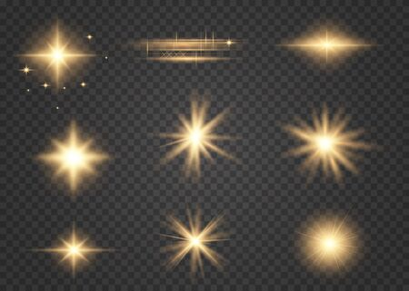 Set of golden glowing lights effects existing on a transparent background. Shine ray with lightning, sparkling round. Bright gold flashes and glares. Bright rays of light.