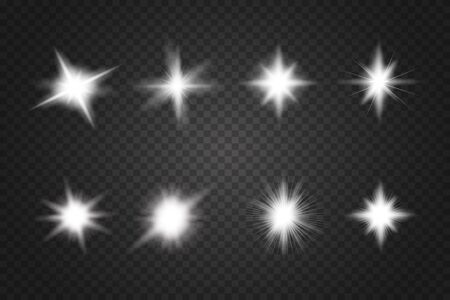 Set of Glowing Light Stars with Sparkles. Lens flares, rays, stars and sparkles with bokeh collection Stok Fotoğraf - 137839808