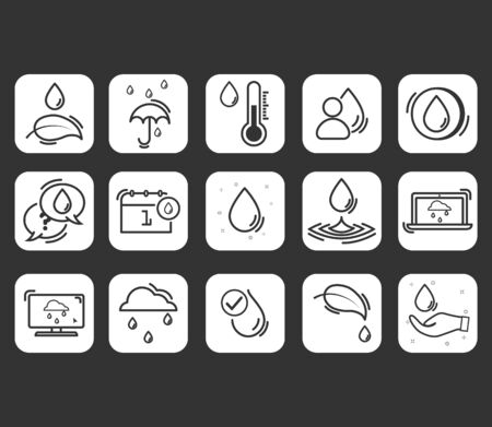 Set of water in modern thin line style. Simple Set of Eco Related Vector Line Icons. Simple pictograms.