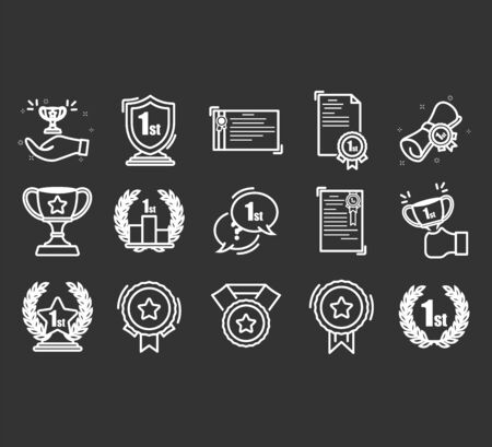 Set of Awards Vector Icons.  High quality outline symbol collection of achievement.